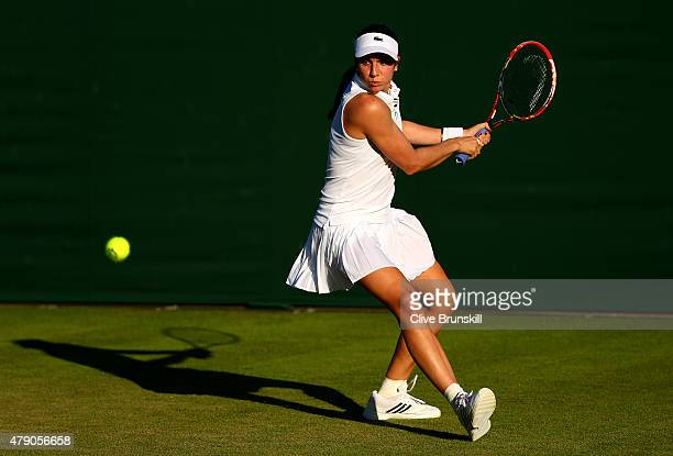 Christina McHale of the United States in action in her Ladies Singles first round match against Johanna Larsson of Sweden during day two of the...
