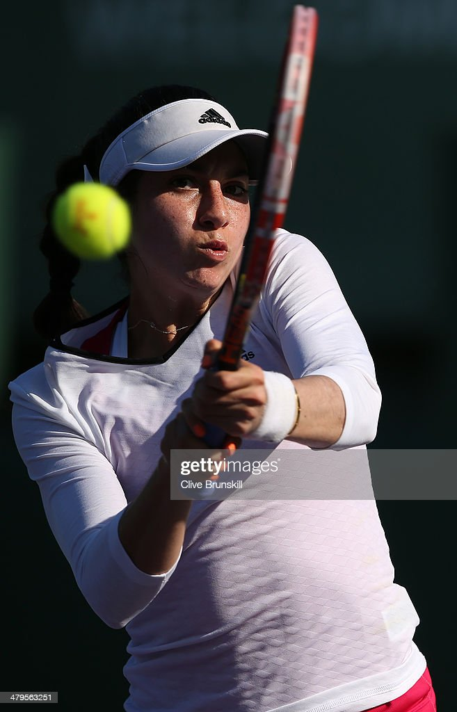 <a gi-track='captionPersonalityLinkClicked' href=/galleries/search?phrase=Christina+McHale&family=editorial&specificpeople=5671165 ng-click='$event.stopPropagation()'>Christina McHale</a> of the United States plays a backhand against Jie Zheng of China during their first round match during day 3 at the Sony Open at Crandon Park Tennis Center on March 19, 2014 in Key Biscayne, Florida.