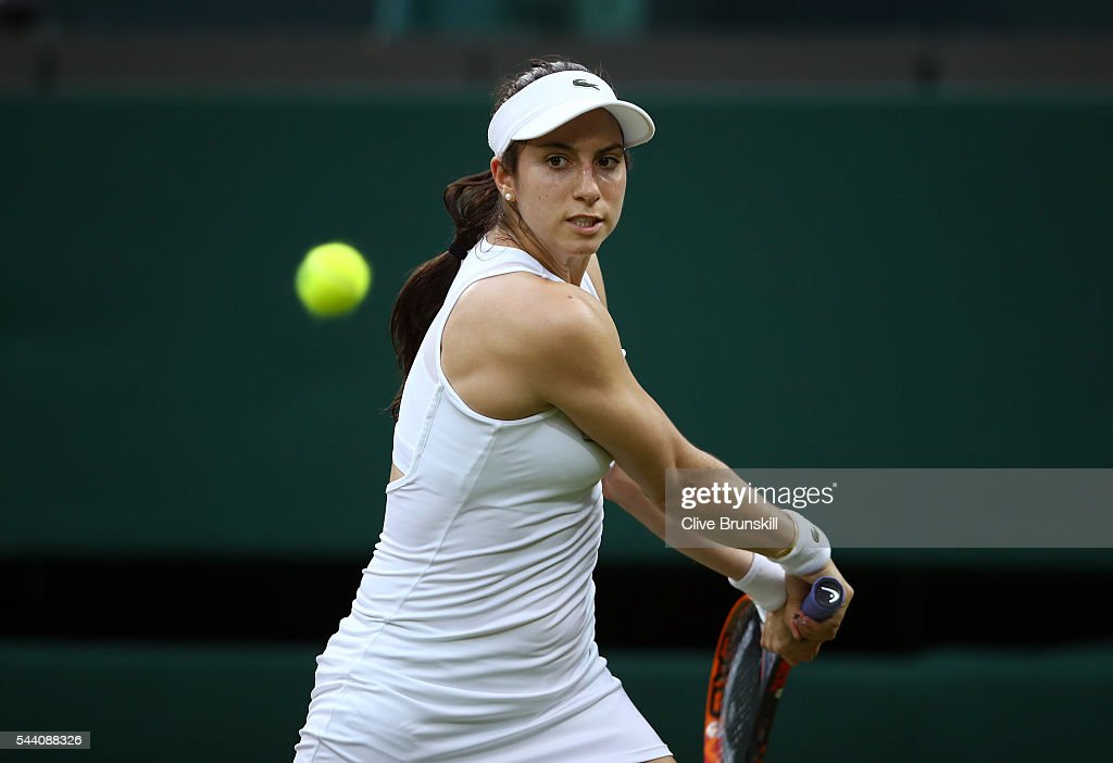 <a gi-track='captionPersonalityLinkClicked' href=/galleries/search?phrase=Christina+McHale&family=editorial&specificpeople=5671165 ng-click='$event.stopPropagation()'>Christina McHale</a> of the United States plays a backhand during the Ladies Singles second round match against Serena Williams of The United States on day five of the Wimbledon Lawn Tennis Championships at the All England Lawn Tennis and Croquet Club on July 1, 2016 in London, England.