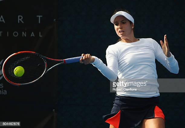 Christina McHale of the United States plays a forehand in the women's single's match against Monica Niculescu of Romania during day two of the 2016...