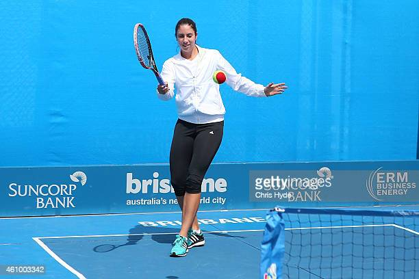 Christina McHale of the United States plays mini tennis during day one of the 2015 Brisbane International at Pat Rafter Arena on January 4 2015 in...