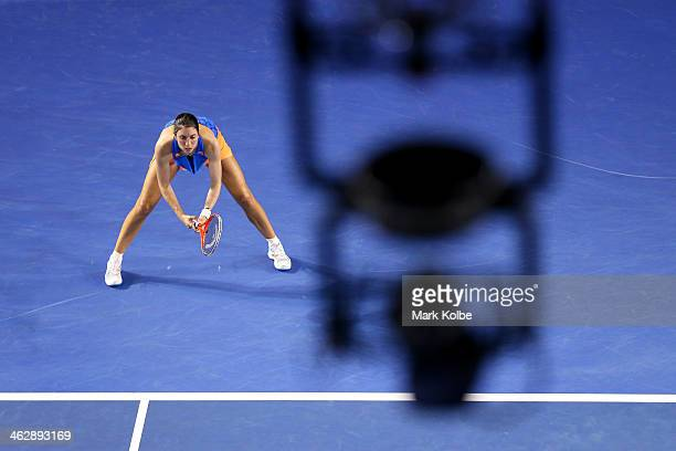 Christina McHale of the United States prepares to return serve in her second round match against Caroline Wozniacki of Denmark during day four of the...