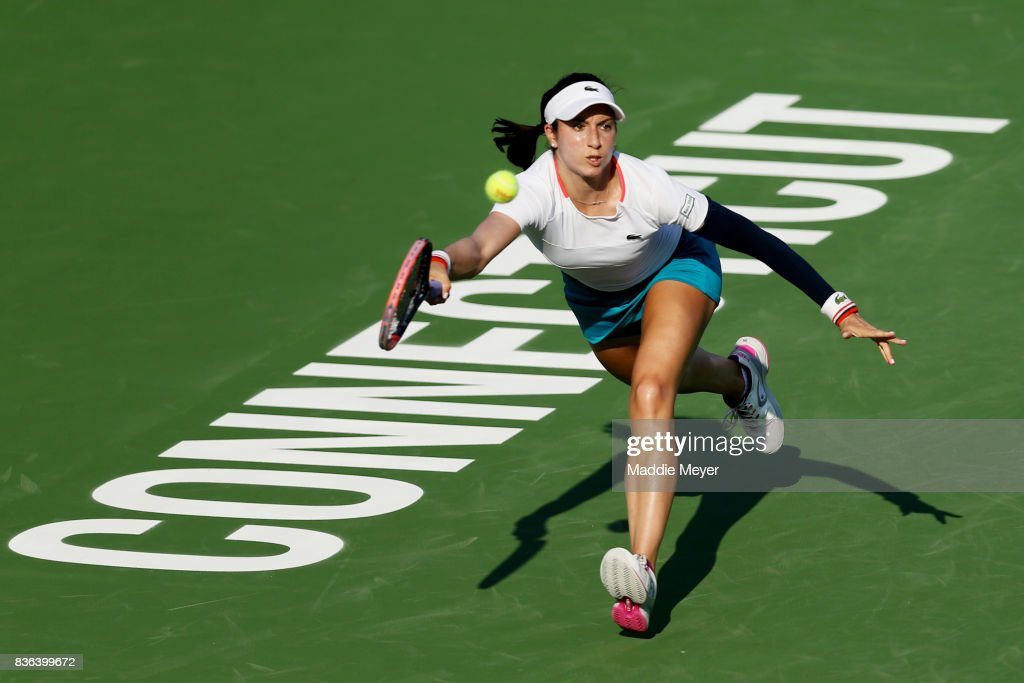 Christina McHale of the United States returns a shot to Anastasia Pavlyuchenkova of Russia during Day 4 of the Connecticut Open at Connecticut Tennis Center at Yale on August 21, 2017 in New Haven, Connecticut.