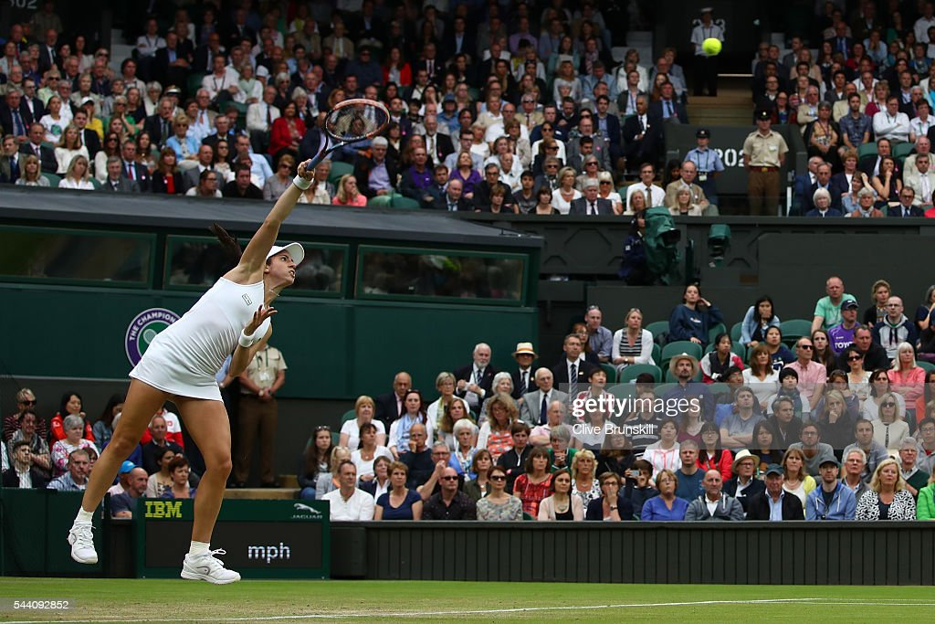 Christina McHale of the United States serves a forehand during the Ladies Singles second round match against Serena Williams of The United States on day five of the Wimbledon Lawn Tennis Championships at the All England Lawn Tennis and Croquet Club on July 1, 2016 in London, England.