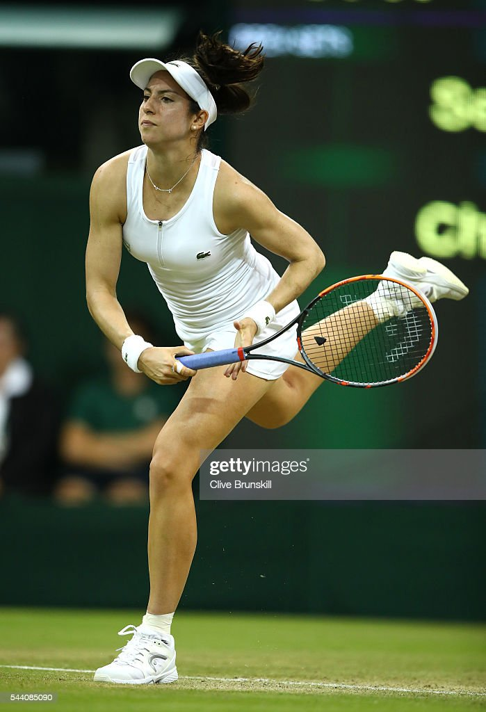 Christina McHale of the United States serves during the Ladies Singles second round match against Serena Williams of The United States on day five of the Wimbledon Lawn Tennis Championships at the All England Lawn Tennis and Croquet Club on July 1, 2016 in London, England.