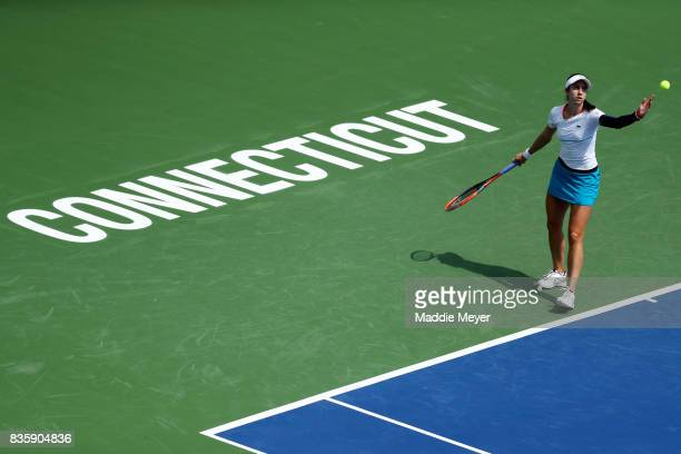 Christina McHale of the United States serves to Jana Cepelova of Slovakia during Day 3 of the Connecticut Open at Connecticut Tennis Center at Yale...