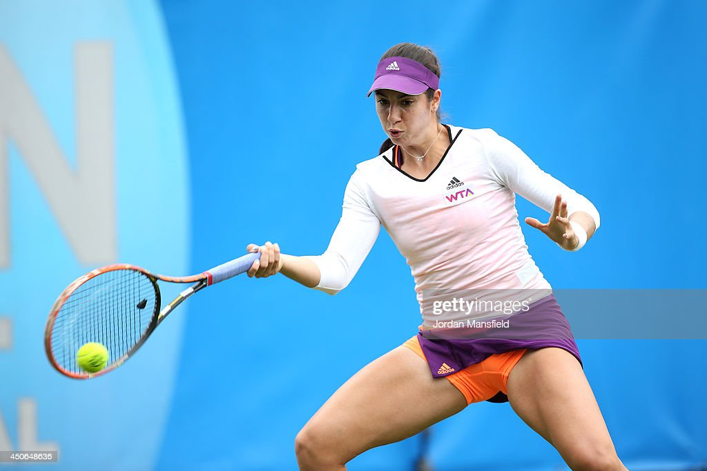 Christina McHale of the USA in action against Su-Wei Hsieh of Chinese Taipei during their Women's Singles third round qualifying match on day two of the Aegon International at Devonshire Park on June 15, 2014 in Eastbourne, England.