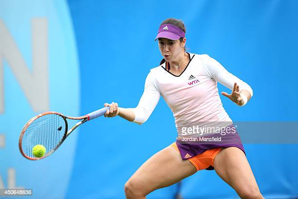 Christina McHale of the USA in action against SuWei Hsieh of Chinese Taipei during their Women's Singles third round qualifying match on day two of...