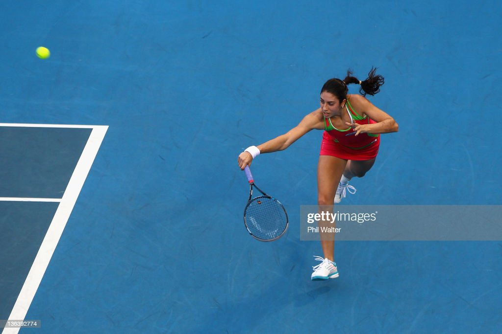 <a gi-track='captionPersonalityLinkClicked' href=/galleries/search?phrase=Christina+McHale&family=editorial&specificpeople=5671165 ng-click='$event.stopPropagation()'>Christina McHale</a> of the USA plays a backhand during her match against Svetlana Kuznetsova of Russia during day three of the 2012 ASB Classic at the ASB Tennis Centre on January 4, 2012 in Auckland, New Zealand.