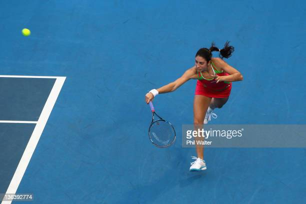 Christina McHale of the USA plays a backhand during her match against Svetlana Kuznetsova of Russia during day three of the 2012 ASB Classic at the...