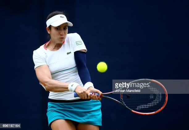 Christina McHale of the USA plays a backhand during her Women's singles second round match Maria Sakkari of Greece during day four of the Aegon Open...
