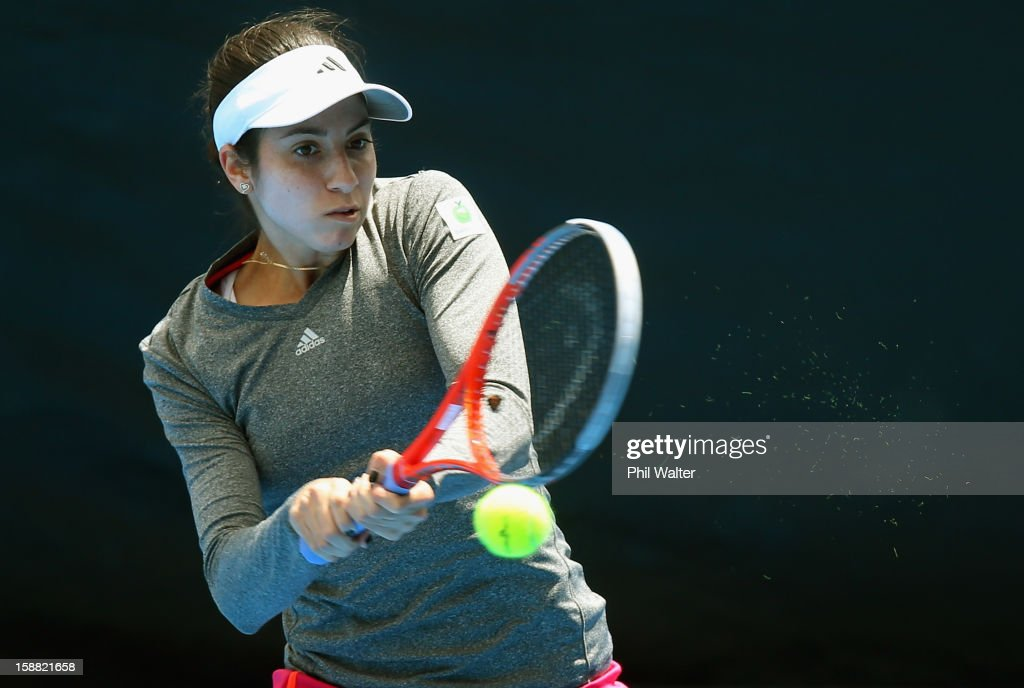 <a gi-track='captionPersonalityLinkClicked' href=/galleries/search?phrase=Christina+McHale&family=editorial&specificpeople=5671165 ng-click='$event.stopPropagation()'>Christina McHale</a> of the USA plays a backhand in her first round match against Pauline Parmentier of France during day one of the 2013 ASB Classic on December 31, 2012 in Auckland, New Zealand.