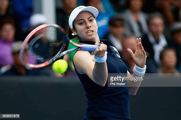Christina McHale of the USA plays a forehand during her singles match against Caroline Wozniacki of Denmark on day three of the 2016 ASB Classic at...
