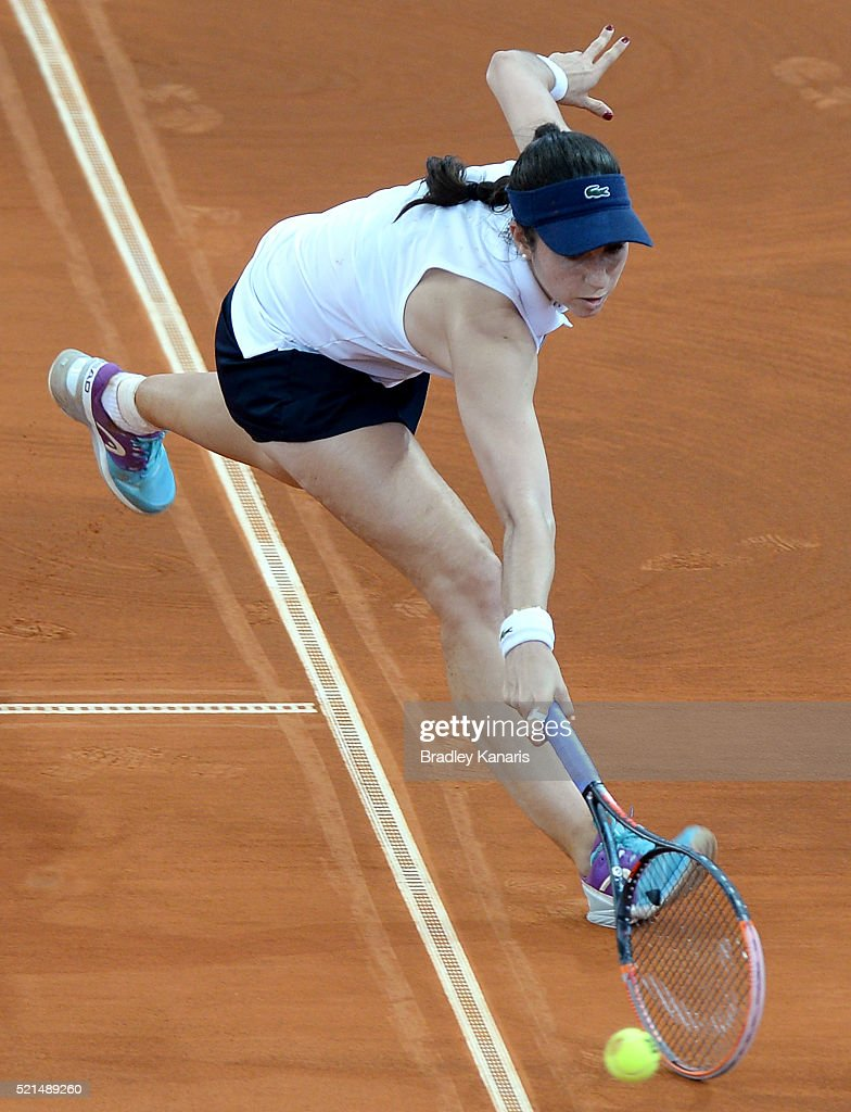 <a gi-track='captionPersonalityLinkClicked' href=/galleries/search?phrase=Christina+McHale&family=editorial&specificpeople=5671165 ng-click='$event.stopPropagation()'>Christina McHale</a> of the USA stretches out to play a shot during her match against Samantha Stosur of Australia in the Fed Cup tie between Australia and the United States at Pat Rafter Arena on April 16, 2016 in Brisbane, Australia.