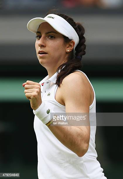 Christina McHale of USA celebrates in her match against Sabine Lisicki of Germany during their Women's Singles Second Round match during day four of...