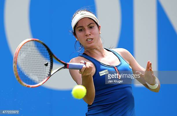 Christina McHale of USA in action against Alize Cornet of France on day one of the Aegon Classic at Edgbaston Priory Club on June 15 2015 in...