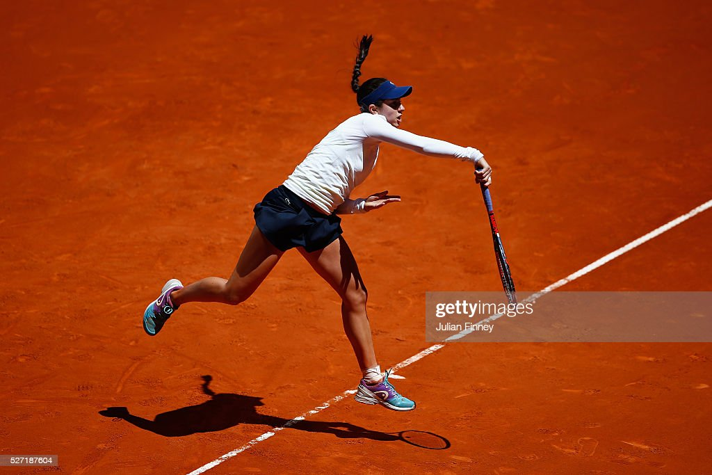 Christina McHale of USA in action against Karolina Pliskova of Czech Republic during day three of the Mutua Madrid Open tennis tournament at the Caja Magica on May 02, 2016 in Madrid, Spain.