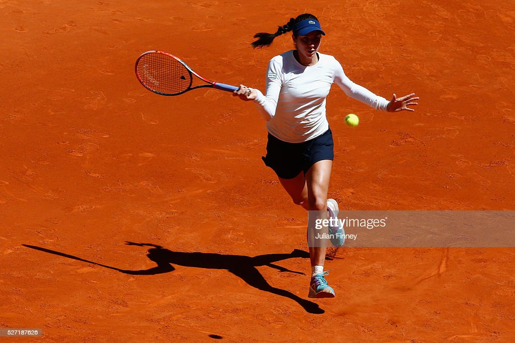 <a gi-track='captionPersonalityLinkClicked' href=/galleries/search?phrase=Christina+McHale&family=editorial&specificpeople=5671165 ng-click='$event.stopPropagation()'>Christina McHale</a> of USA in action against Karolina Pliskova of Czech Republic during day three of the Mutua Madrid Open tennis tournament at the Caja Magica on May 02, 2016 in Madrid, Spain.
