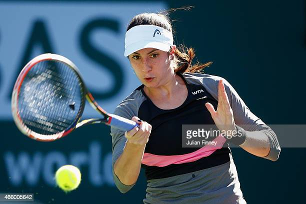 Christina McHale of USA in action against Petra Cetkovska of Czech Republic during day four of the BNP Paribas Open tennis at the Indian Wells Tennis...