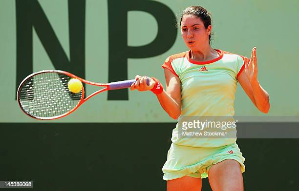 Christina Mchale of USA plays a forehand in her women's singles first round match against Kiki Bertens of Netherlands during day 2 of the French Open...