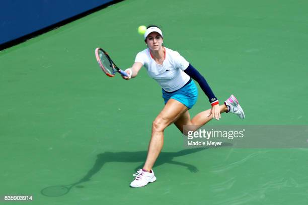Christina McHale returns a shot to Jana Cepelova during Day 3 of the Connecticut Open at Connecticut Tennis Center at Yale on August 20 2017 in New...