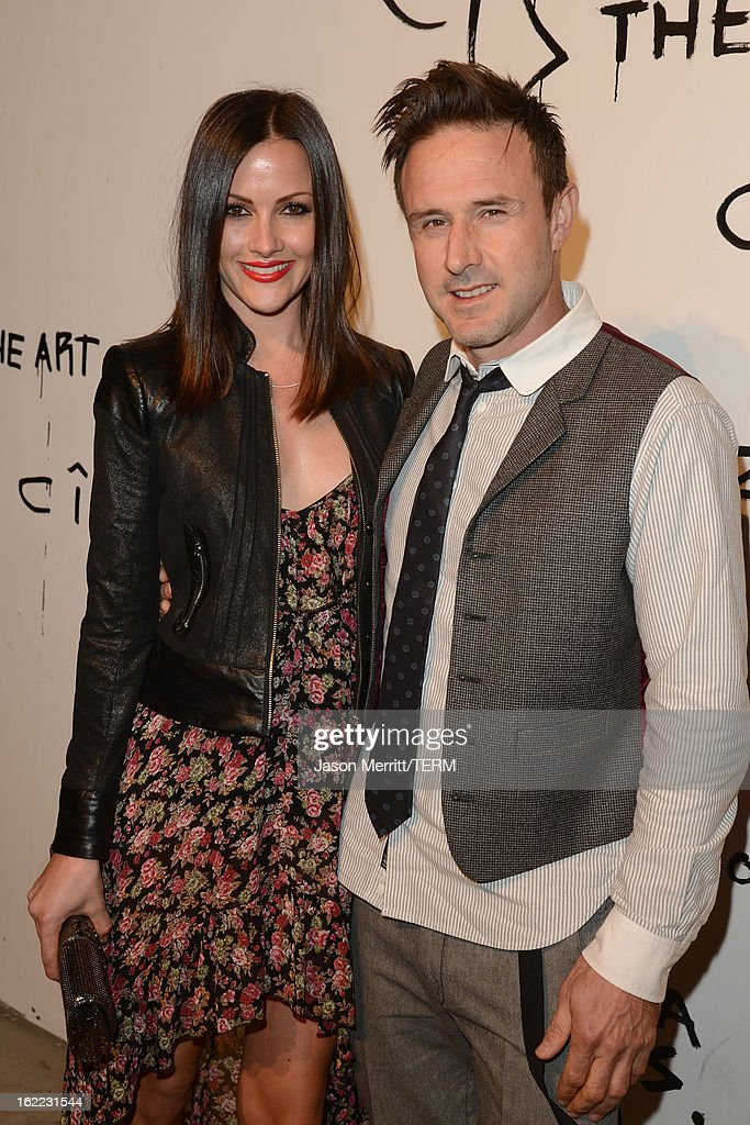 Christina McLarty (L) and actor David Arquette attend the Art Of Elysium's 6th Annual Pieces Of Heaven powered by Ciroc Ultra Premium Vodka at the Ace Museum on February 20, 2013 in Los Angeles, California.