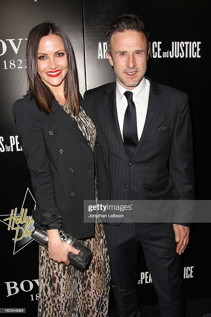Christina McLarty and <a gi-track='captionPersonalityLinkClicked' href=/galleries/search?phrase=David+Arquette&family=editorial&specificpeople=201740 ng-click='$event.stopPropagation()'>David Arquette</a> attend the Hollywood Domino And Bovet 1822 Gala Benefiting Artists For Peace And Justice at Sunset Tower on February 21, 2013 in West Hollywood, California.
