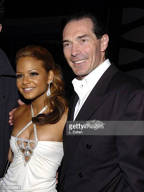 Christina Milian and Alex Yemenidjian CEO of MGM during 'Be Cool' Los Angeles Premiere After Party at The Pallidium in Los Angeles California United...