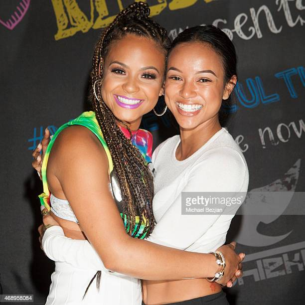 Christina Milian and Karrueche Tran attend Christina Milian Brings We Are Pop Culture To Shiekh Shoes on April 8 2015 in West Hollywood California