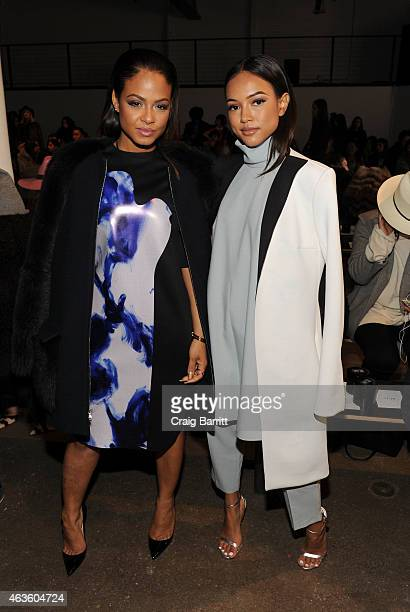 Christina Milian and Karrueche Tran attend the Adeam fashion show at Highline Stages on February 16 2015 in New York City