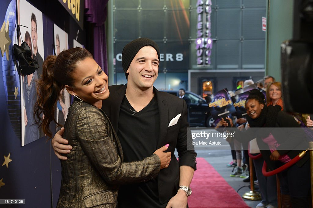 AMERICA - Christina Milian and Mark Ballas hang up their dancing shoes after getting the boot on 'Dancing With the Stars.' The couple appeared on GOOD MORNING AMERICA, 10/15/13, airing on the ABC Television Network. (Photo by Ida Mae Astute/ABC via Getty Images) CHRISTINA