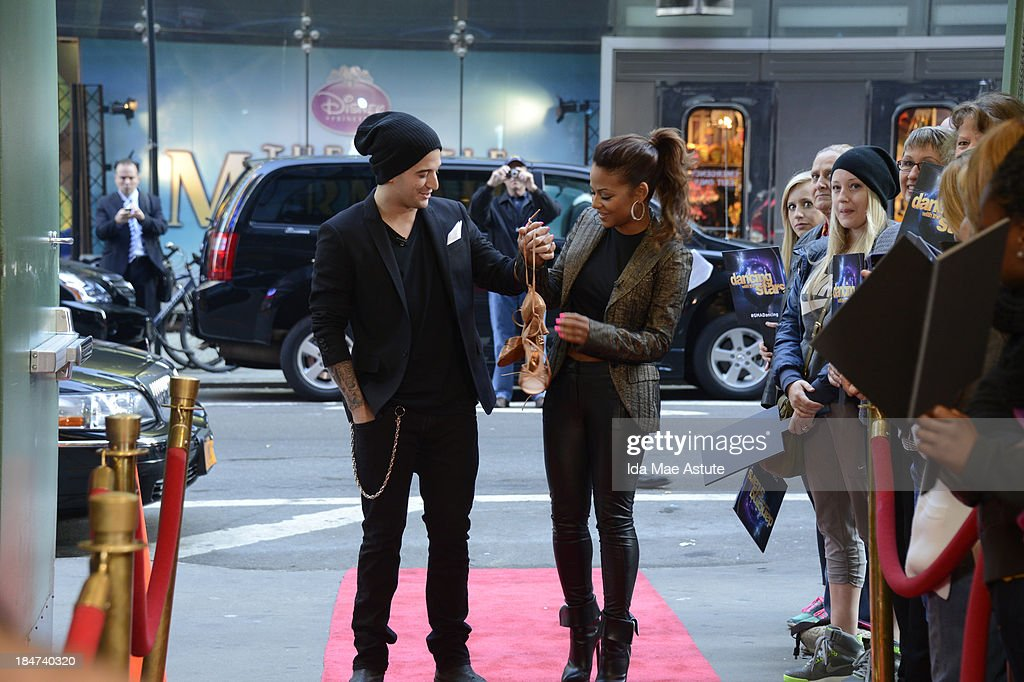 AMERICA - Christina Milian and Mark Ballas hang up their dancing shoes after getting the boot on 'Dancing With the Stars.' The couple appeared on GOOD MORNING AMERICA, 10/15/13, airing on the ABC Television Network. (Photo by Ida Mae Astute/ABC via Getty Images) CHRISTINA MILIAN, MARK BALLAS
