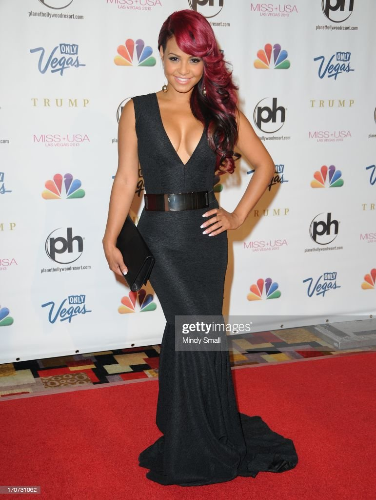 <a gi-track='captionPersonalityLinkClicked' href=/galleries/search?phrase=Christina+Milian&family=editorial&specificpeople=171274 ng-click='$event.stopPropagation()'>Christina Milian</a> arrives at the 2013 Miss USA pageant at Planet Hollywood Resort & Casino on June 16, 2013 in Las Vegas, Nevada.
