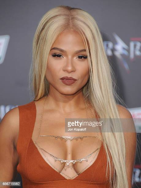 Christina Milian arrives at the Los Angeles Premiere 'Power Rangers' at the Westwood Village Theater on March 22 2017 in Westwood California