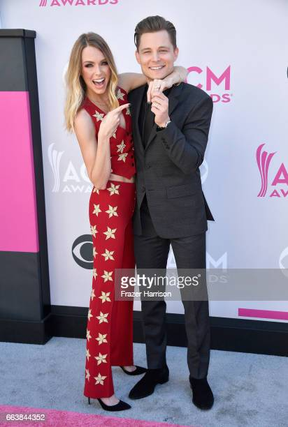 Christina Murphy and recording artist Frankie Ballard attend the 52nd Academy Of Country Music Awards at Toshiba Plaza on April 2 2017 in Las Vegas...