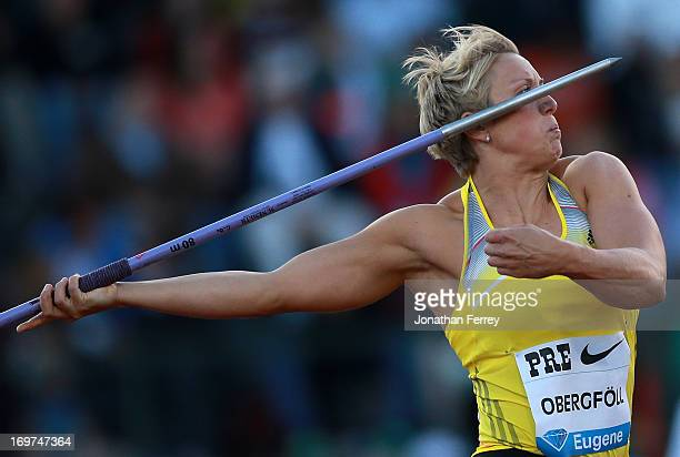 Christina Obergfoll of Germany throws the javelin during day 1 of the IAAF Diamond League Prefontaine Classic on May 31 2013 at the Hayward Field in...