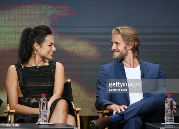 Christina Ochoa and Matt Barr of 'Valor' speak onstage during the 2017 Summer TCA Tour CW Panels held at The Beverly Hilton Hotel on August 2 2017 in...
