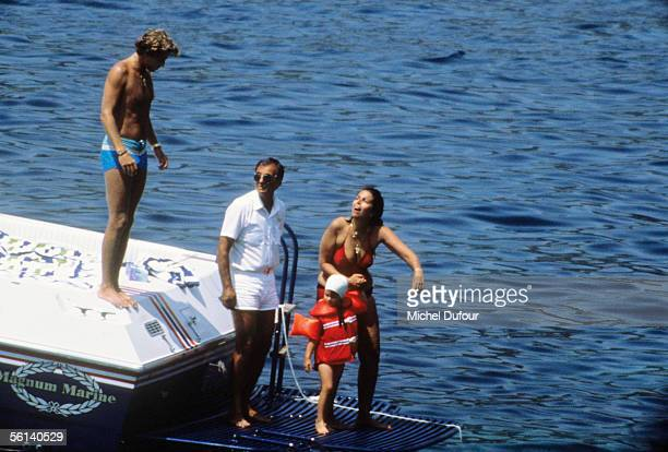 Christina Onassis daughter of Greek shipping magnet Aristotle Onassis Thierry Roussel and their daughter Athina are seen during a holiday at Saint...