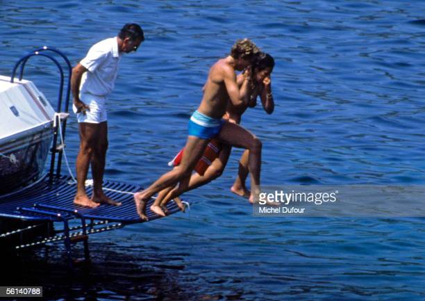 Christina Onassis daughter of Greek shipping magnet Aristotle Onassis is seen with Thierry Roussel during their holiday at Saint Jean Cap Ferrat...