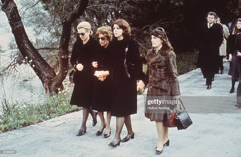 Christina Onassis, the daughter of Greek shipping tycoon Aristotle Onassis, attends her father's funeral on the Ionian island of Skorpios. With her are her three aunts, the sisters of Aristotle Onassis.