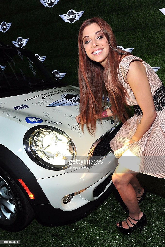 <a gi-track='captionPersonalityLinkClicked' href=/galleries/search?phrase=Christina+Perri&family=editorial&specificpeople=7285432 ng-click='$event.stopPropagation()'>Christina Perri</a> arrives at the Warner Music Group GRAMMY Celebration - Presented by Mini at Chateau Marmont on February 10, 2013 in Los Angeles, California.
