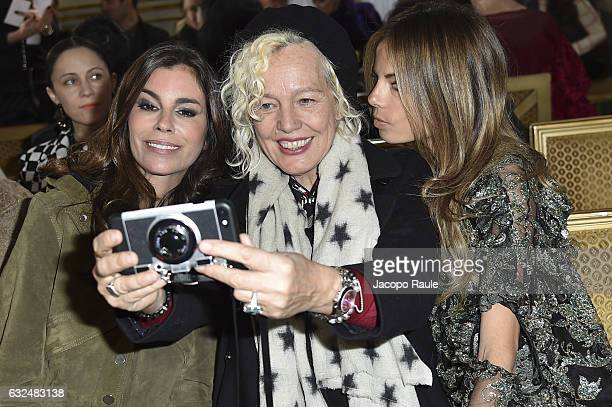 Christina Pitanguy Ellen Von Unwerth and Erica Pelosini attend the Francesco Scognamiglio Haute Couture Spring Summer 2017 show as part of Paris...