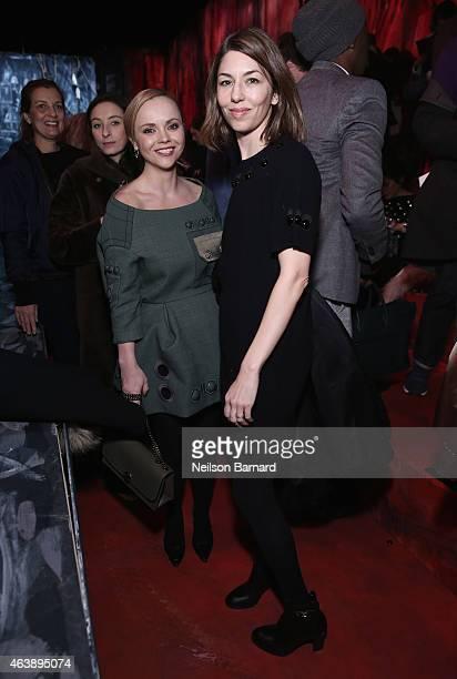 Christina Ricci and Sofia Coppola attend the Marc Jacobs fashion show during MercedesBenz Fashion Week Fall 2015 at Park Avenue Armory on February 19...