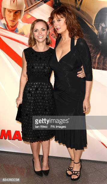 Christina Ricci and Susan Sarandon arrive for the UK premiere of Speed Racer at the Empire Leicester Square London WC2