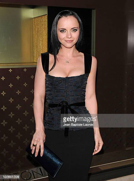 Christina Ricci arrives at a cocktail party at the Louis Vuitton store on Rodeo Drive on July 13 2010 in Beverly Hills California