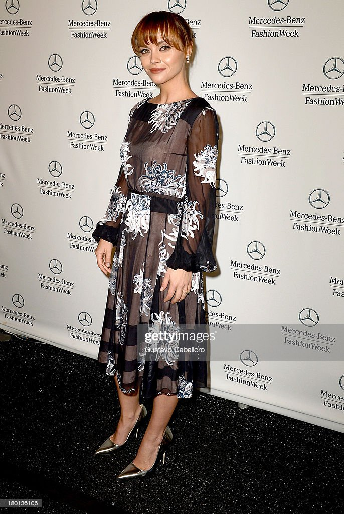 <a gi-track='captionPersonalityLinkClicked' href=/galleries/search?phrase=Christina+Ricci&family=editorial&specificpeople=239510 ng-click='$event.stopPropagation()'>Christina Ricci</a> attends Day 5 of Mercedes-Benz Fashion Week Spring 2014 at Lincoln Center for the Performing Arts on September 9, 2013 in New York City.