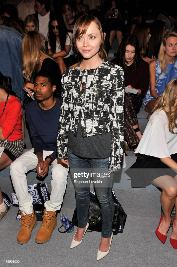 <a gi-track='captionPersonalityLinkClicked' href=/galleries/search?phrase=Christina+Ricci&family=editorial&specificpeople=239510 ng-click='$event.stopPropagation()'>Christina Ricci</a> attends the Richard Chai Spring 2014 fashion show during Mercedes-Benz Fashion Week at The Stage at Lincoln Center on September 5, 2013 in New York City.