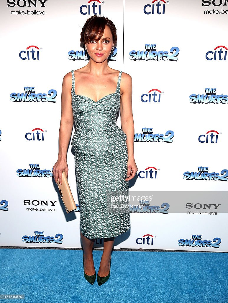 <a gi-track='captionPersonalityLinkClicked' href=/galleries/search?phrase=Christina+Ricci&family=editorial&specificpeople=239510 ng-click='$event.stopPropagation()'>Christina Ricci</a> attends 'The Smurfs 2' New York Blue Carpet Screening at Lighthouse International Theater on July 28, 2013 in New York City.