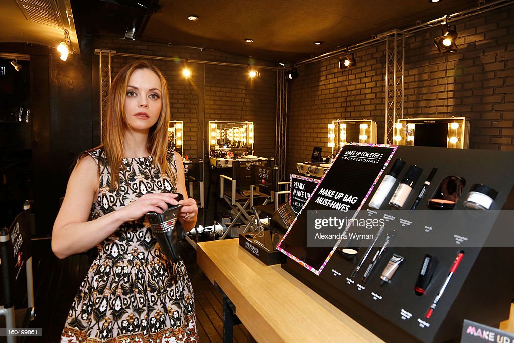 <a gi-track='captionPersonalityLinkClicked' href=/galleries/search?phrase=Christina+Ricci&family=editorial&specificpeople=239510 ng-click='$event.stopPropagation()'>Christina Ricci</a> debuts her MAKE UP FOR EVER Remix Make Up Bag at The MAKE UP FOR EVER Make Up Bag Remix Tour stop at The Grove on February 1, 2013 in Los Angeles, California.