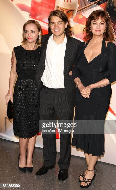 Christina Ricci Emile Hirsch and Susan Sarandon arrive for the UK premiere of Speed Racer at the Empire Leicester Square London WC2